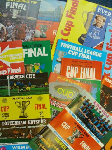 Collection of 14 different LEAGUE CUP FINAL football programmes